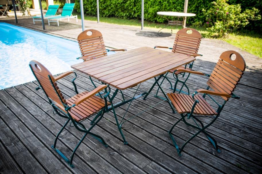 Composition mobilier de jardin FLORA Table + 4 fauteuils - Ref. SJ ...